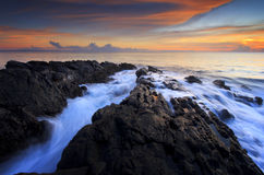 Beautiful sunset with motion water. Beautiful sunset at senggigi beach Royalty Free Stock Photo