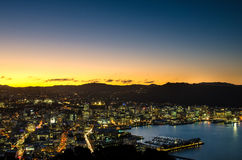 Beautiful sunset  of Mount Victoria in New Zealand. Royalty Free Stock Image