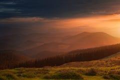 Beautiful sunset in mountain. Beautiful sunset in the mountain stock photography