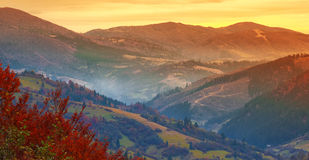 Beautiful sunset in the mountains in autumn Stock Image