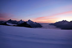 Beautiful sunset in the mountains. Breathaking sunset near Zermatt, Switzerland Royalty Free Stock Images