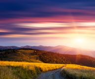 Sunset in the mountains and the road Royalty Free Stock Image