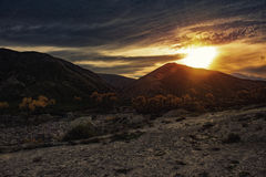 Beautiful sunset in mountains Stock Image