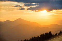 Beautiful sunset in the mountains Stock Image