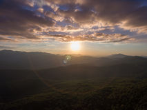 Beautiful sunset in the mountains. stock photography