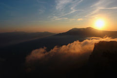 Beautiful sunset in the mountains. Fall landscape, Chatyrdag pla Royalty Free Stock Photo