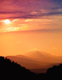 Beautiful sunset in mountains Royalty Free Stock Photos