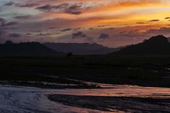 Beautiful sunset in Mt.Pinatubo stock photography