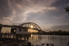 Beautiful sunset near Kedah River Malaysia where all the fisherman live. This sea port where all the fish wil distribute for sell Stock Images