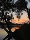 Beautiful sunset near river, Lithuania Stock Images