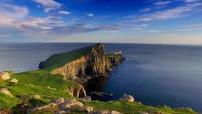 Beautiful sunset at Neist point lighthouse in Scotland, United Kingdom stock footage