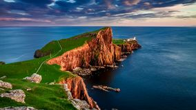 Beautiful sunset at Neist point lighthouse, Scotland, United Kingdom stock video
