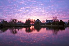 Beautiful sunset in the Netherlands Royalty Free Stock Image