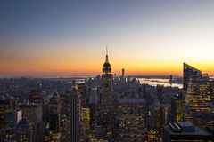 Beautiful sunset from New York City royalty free stock photography