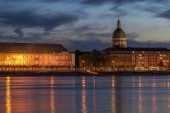 Beautiful sunset night over Rhine / Rhein river  in Mainz near F Stock Photo