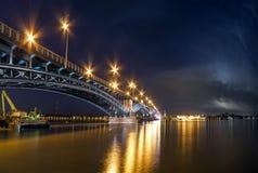 Beautiful sunset night over Rhine / Rhein river and old bridge i Royalty Free Stock Photo