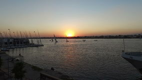 Beautiful sunset on the Nile in Luxor stock video