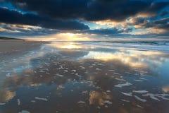 Beautiful sunset on North sea beach Royalty Free Stock Photo