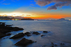 Beautiful sunset of Northeast Coast in Taiwan Royalty Free Stock Image
