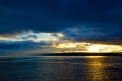A beautiful sunset on the ocean. stock photography