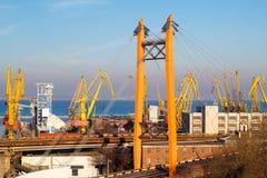 Beautiful sunset in Odessa seaport stock photo
