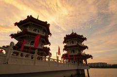 Beautiful Sunset Of Pagodas Stock Images