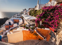A beautiful sunset in Oia, Santorini, Greece Royalty Free Stock Images