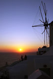 Beautiful sunset in Oia, Santorini island Stock Images