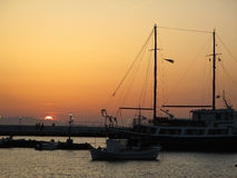 Beautiful sunset at the Old Port of Mykonos town, Mykonos island Royalty Free Stock Photography