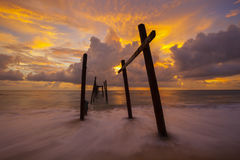 Beautiful sunset with old wooden bridge at Khao Pilai in Phang- Stock Images