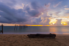 Beautiful sunset with old wooden bridge at Khao Pilai in Phang- Stock Image