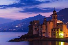 Beautiful Sunset On The Pebble Beach In Camogli Near Genoa, Italy Stock Photos