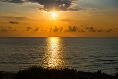Beautiful Sunset over Adriatic Sea in Italy Stock Image