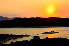 Beautiful sunset over Aegean sea. Poros, Greece stock photos