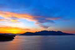 Beautiful sunset over Aegean sea. Greece royalty free stock photo