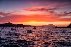 Beautiful sunset over Aegean sea, Klima in Milos island Greece.  royalty free stock images