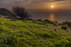 Beautiful sunset over Afionas Corfu Greece. Amazing Greece. Beautiful sunset over Afionas Corfu Greece Stock Photography