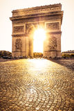 Beautiful sunset over Arc de Triomphe, Paris Stock Photo