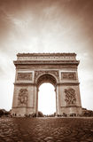 Beautiful sunset over Arc de Triomphe, Paris Stock Images