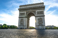 Beautiful sunset over Arc de Triomphe, Paris Royalty Free Stock Photography