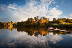Beautiful sunset over Autumn Fall lake Stock Photography