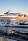 Beautiful Sunset Over Baltic Sea with cloud and beams, Jurmala Dzintari Royalty Free Stock Photo