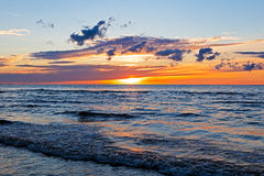 Beautiful Sunset Over Baltic Sea with cloud and beams, Jurmala Dzintari Royalty Free Stock Image