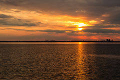 Beautiful sunset over Baltic sea. At island Oland, Sweden Stock Photos