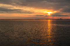 Beautiful sunset over Baltic sea. At island Oland, Sweden Royalty Free Stock Images