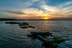A Beautiful Sunset over The Bay Stock Photo
