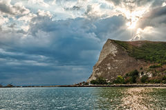 Beautiful sunset over bay in Kavarna, Bulgaria Stock Photo