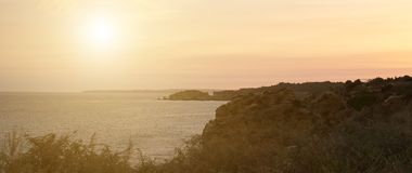 Portimao, Portugal. Beautiful sunset over the bay in Portimao, Portugal royalty free stock image