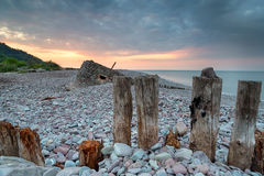Beautiful Sunset over the Beach at Porlock Weir. A part of Exmoor National Park in Somerset stock images