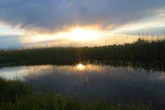 Beautiful sunset over calm lake Royalty Free Stock Photo